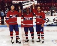 Jean Beliveau / Henri Richard / Guy Lafleur - Holding Stanley Cup Framed Print