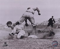 Ty Cobb - Sliding into base, sepia Framed Print
