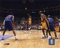 Kobe Bryant - '04 Finals 3 point shot/ front view Fine Art Print