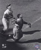 Yogi Berra - catching action / sepia Fine Art Print