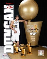 Tim Duncan 2005 - MVP with 3 Trophies  (#3) Fine Art Print