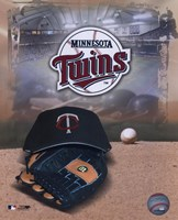 Minnesota Twins - '05 Logo / Cap and Glove Framed Print