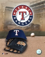 Texas Rangers - '05 Logo / Cap and Glove Framed Print