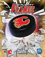Calgary Flames 2005 - Logo / Puck Framed Print