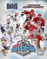 '06 - Stanley Cup Matchup Composite Oiilers Vs. Hurricanes Framed Print