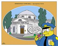 Simpsons - Springfield Town Hall (postercard) Framed Print