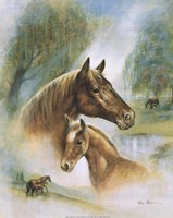 Brown Mare And Fowl Fine Art Print