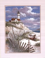 Lighthouse With Deserted Canoe Framed Print