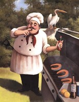 Barbecue Chef with Hot Sauce Fine Art Print