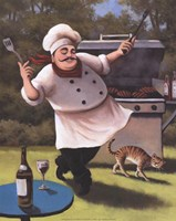 Barbecue Chef with Cat Fine Art Print