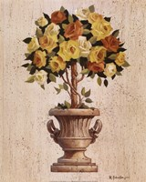 Yellow And Orange Rose Topiary Fine Art Print