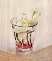 White Flowers In Glass Fine Art Print