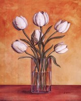 White Tulips In Vase Framed Print