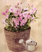 Pink Flowers In Basket With Watering Can Fine Art Print