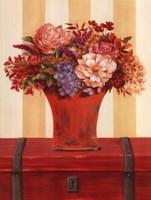 Flowers In Vase On Trunk Fine Art Print