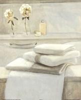 Towels Flowers On Shelf Fine Art Print