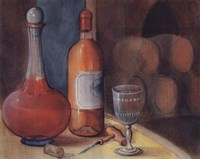 Wine Bottle With Glass Fine Art Print