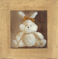 White Bunny With Yellow Bow Fine Art Print