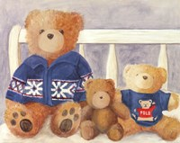 Bears With Blue Sweaters Fine Art Print