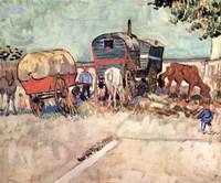Encampment of Gypsies with Caravans, near Arles, c.1888 Fine Art Print