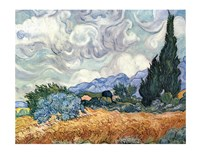 A Wheat Field with Cypresses, c.1889 Framed Print