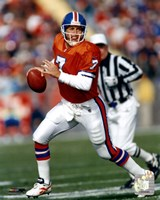 John Elway Orange Uniform Action Fine Art Print
