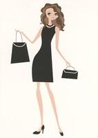 Birthday Black Dress and Black Purses Greeting Card
