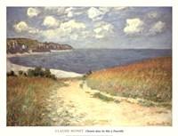 Chemin dans les bles a Pourville, 1882 Framed Print