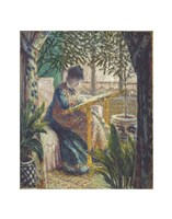 Madame Monet Embroidering, c.1875 Fine Art Print