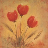 Orange Tulips and Wheat Fine Art Print