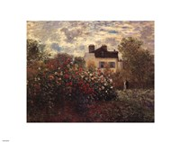 The Artist's Garden in Argenteuil (A Corner of the Garden with Dahlias), c.1873 Framed Print