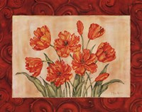Linen Scroll Tulip Framed Print
