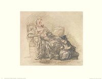 Reading Woman with Child Fine Art Print