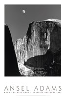 Moon And Half Dome Fine Art Print