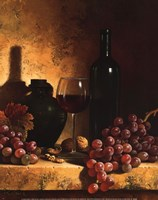 Wine Bottle, Grapes and Walnuts Fine Art Print