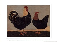Double Roosters Fine Art Print