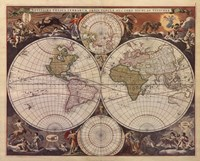 New World Map, 17th Century Fine Art Print