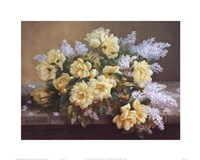 Still Life of Yellow Roses with Lilacs Framed Print