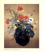 Blue Vase of Flowers Fine Art Print