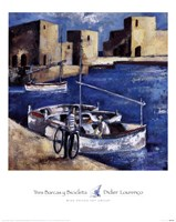 Tres Barcas y Bicicleta Fine Art Print