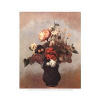 Pivoine Geranium Et Lilas Fine Art Print