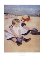 Children Playing On The Beach Fine Art Print