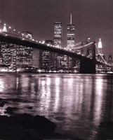 Night View Brooklyn Bridge and Skyline Framed Print