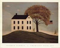 House with Flag Framed Print