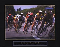 Courage - Making A Turn Bicycle Race Framed Print