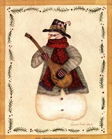 Snowman Playing Mandolin Fine Art Print