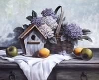 Birdhouse, Hydrangea, Apple Framed Print