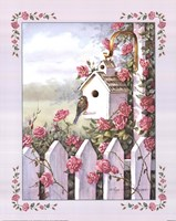 Birdhouse With Roses Fine Art Print