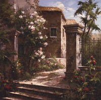 Courtyard With Flowers Fine Art Print