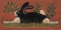 Red Folk Bunny Fine Art Print